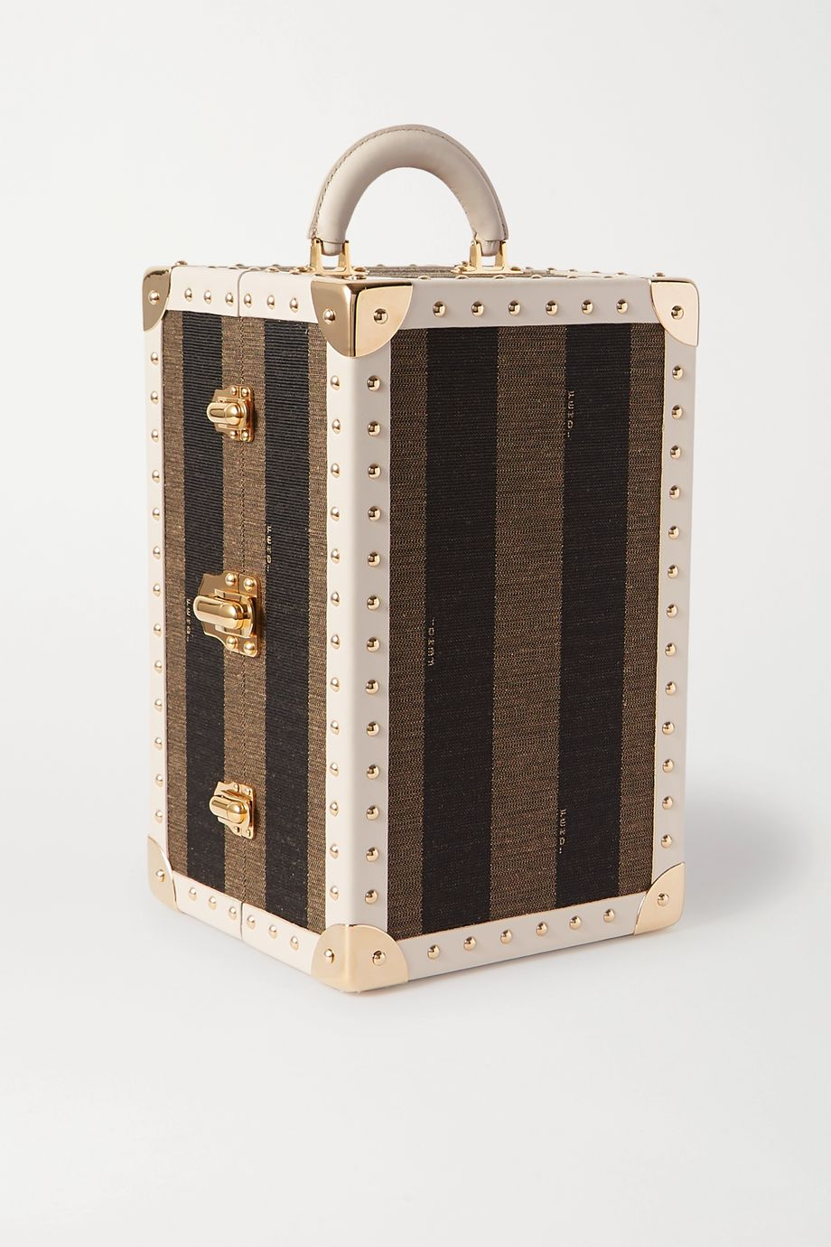 Fendi Studded leather-trimmed striped canvas case