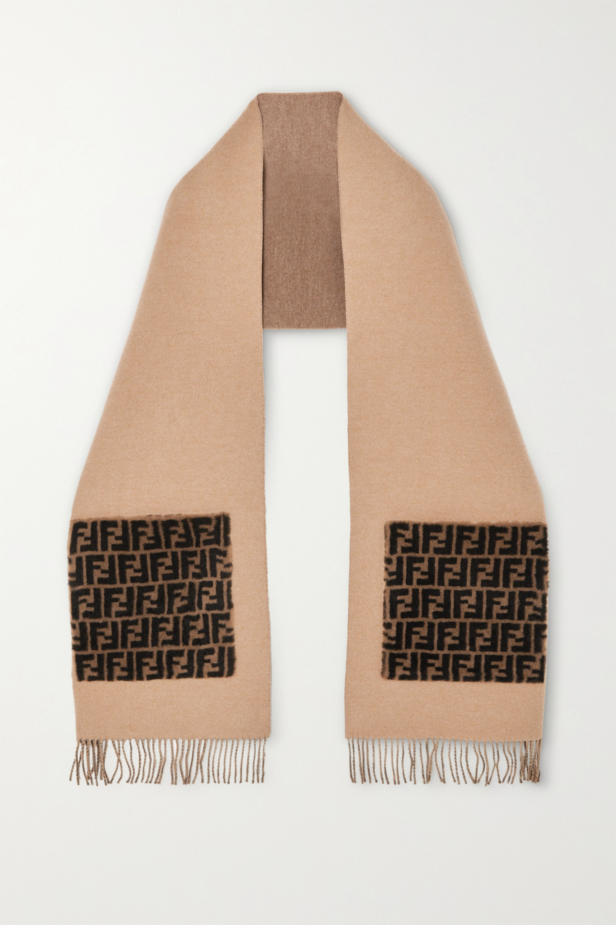 Fendi Printed shearling-trimmed wool and cashmere-blend scarf