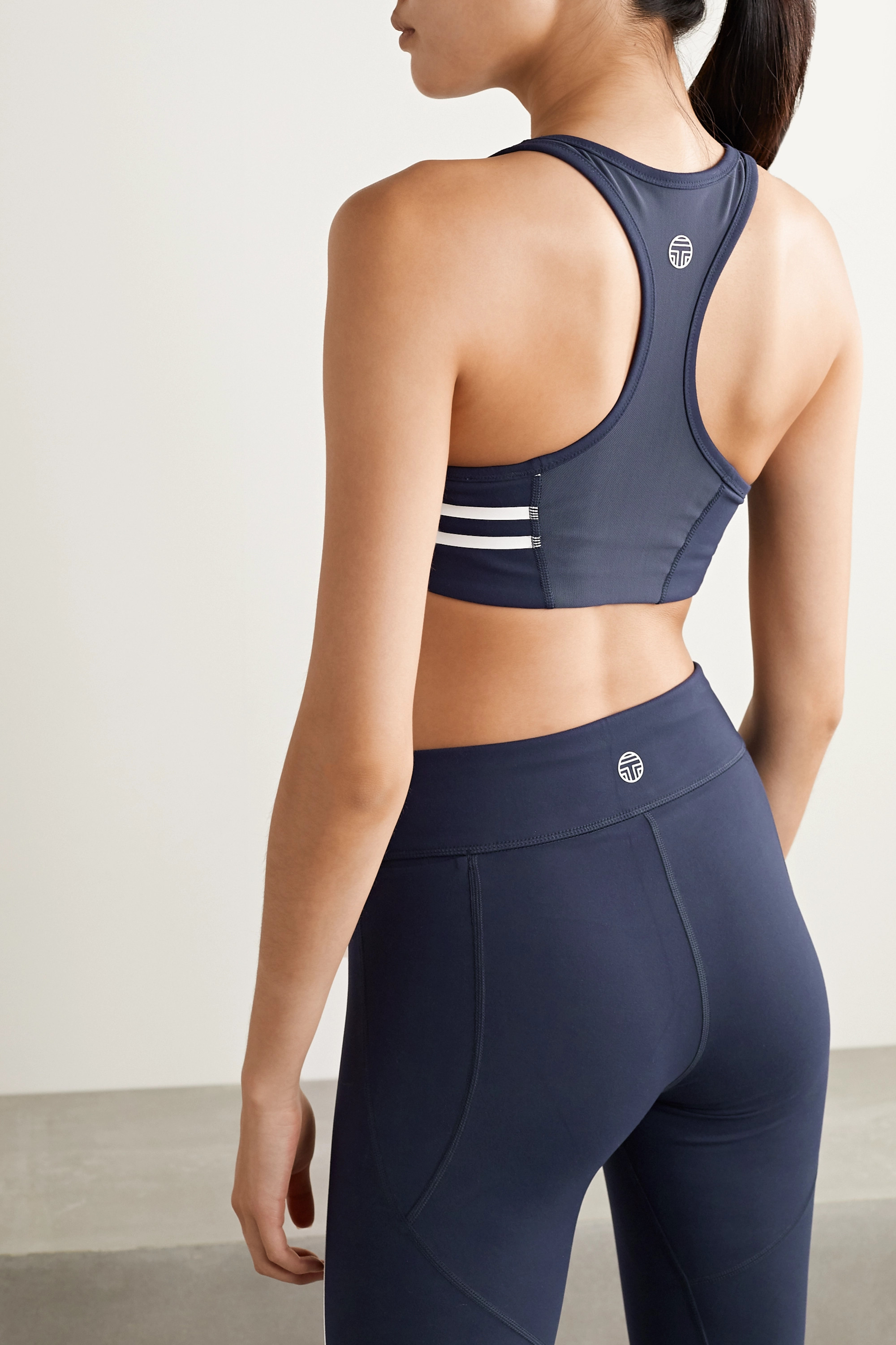 Tory Sport Mesh-trimmed striped stretch-Tactel sports bra