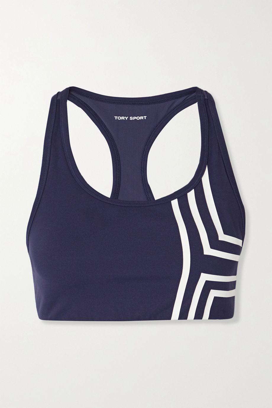 Tory Sport Mesh-trimmed striped stretch-Tactel sports bra