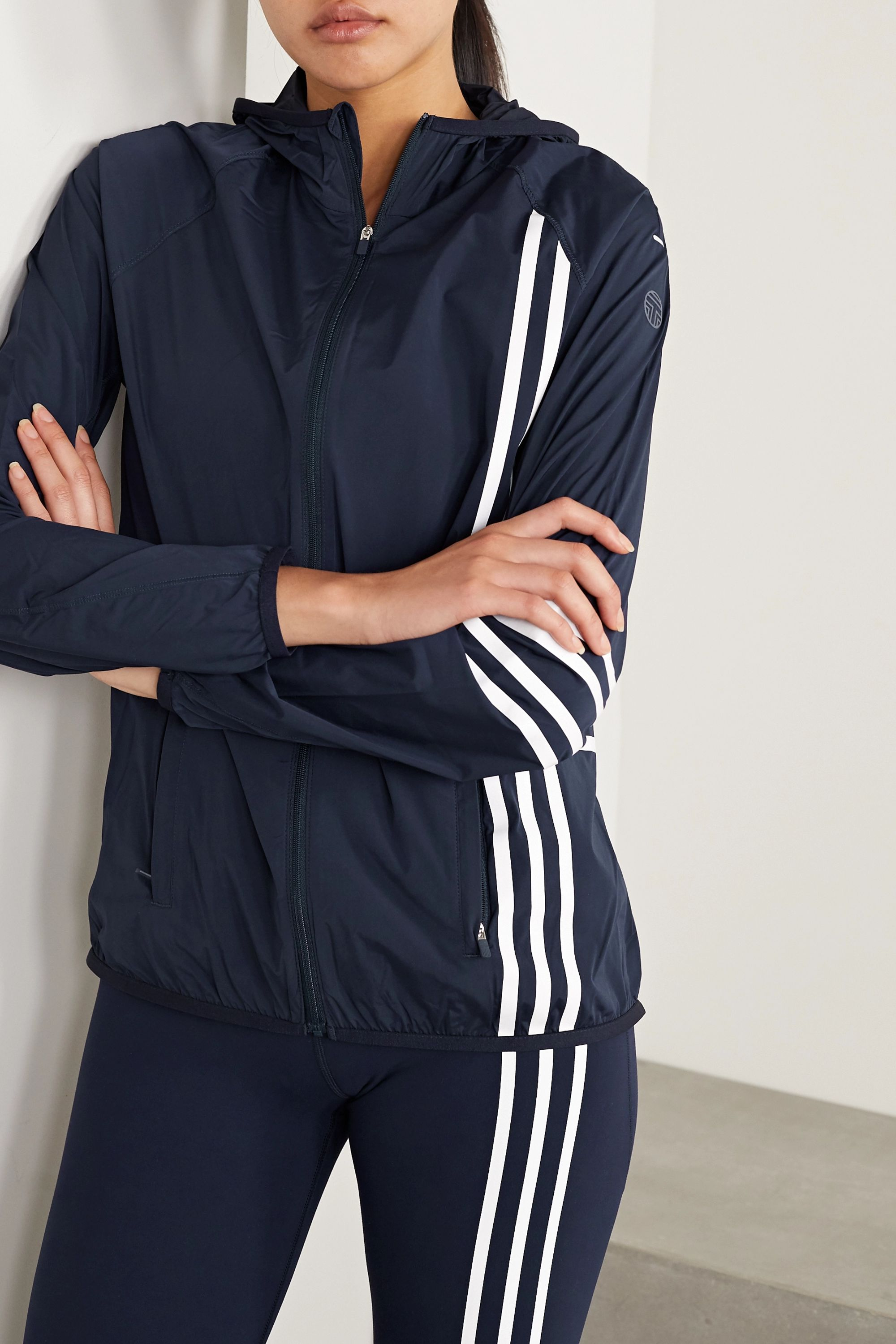 Tory Sport Hooded striped stretch-nylon shell jacket