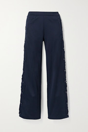 Tory Sport Ruffled stretch-knit track pants