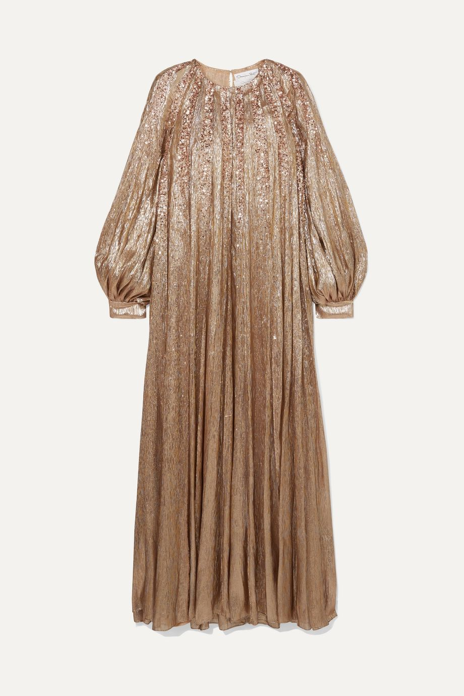 Oscar de la Renta Pleated embellished silk-blend lamé gown