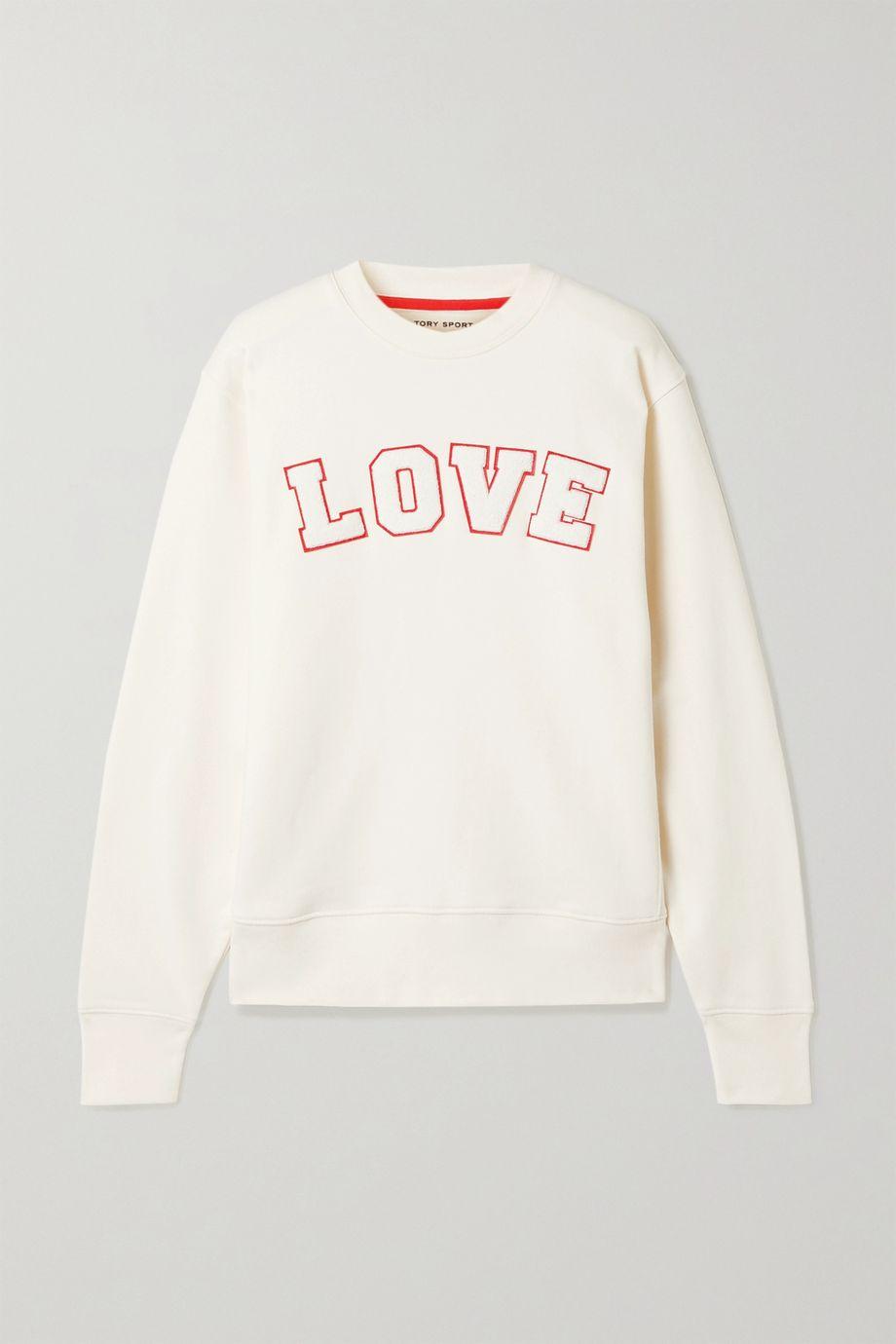 Tory Sport Appliquéd French cotton-terry sweatshirt
