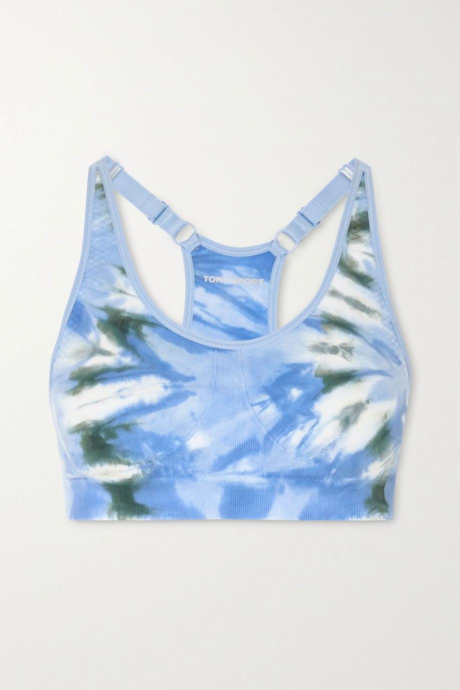 Tory Sport Tie-dyed stretch sports bra