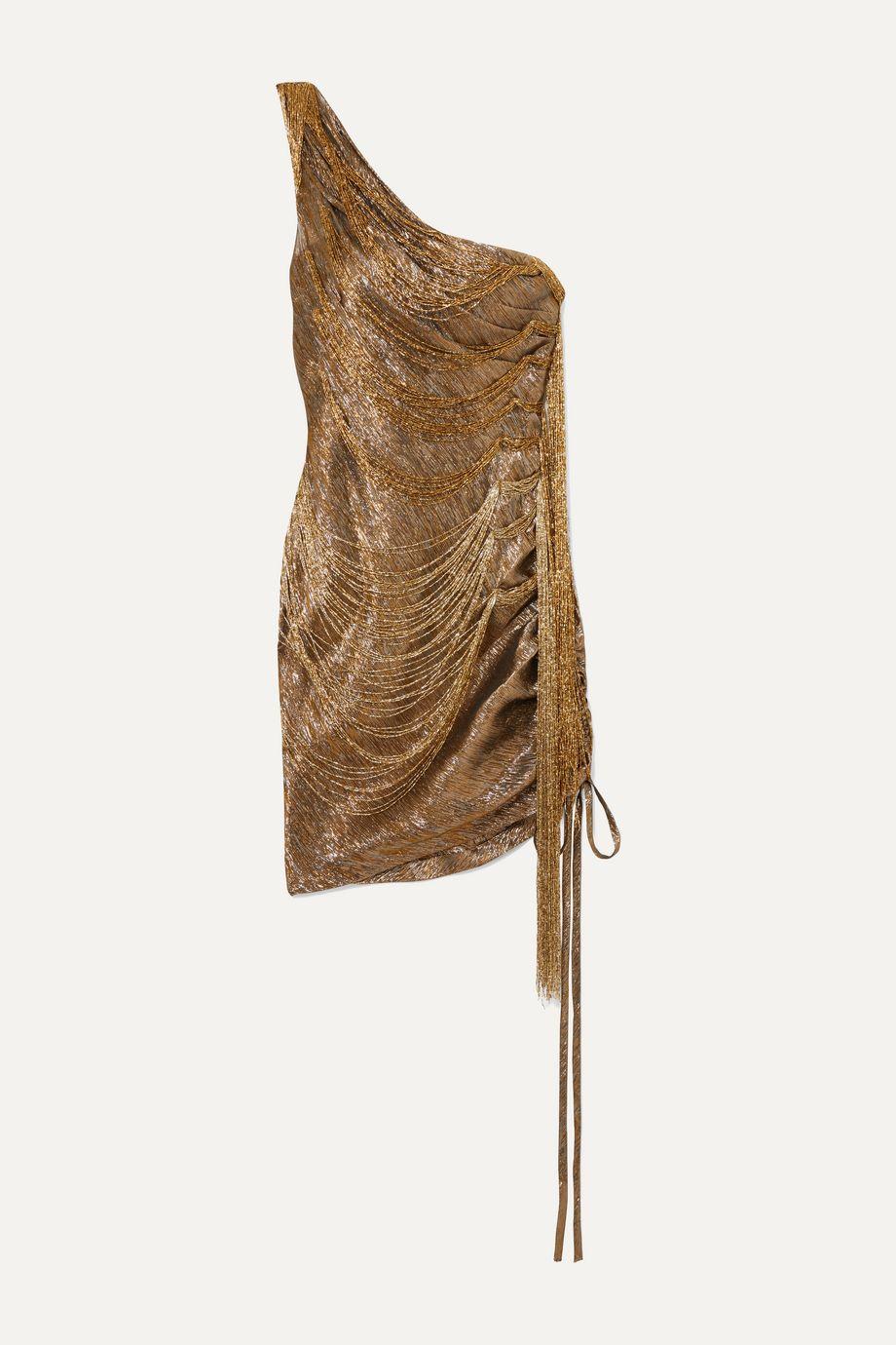 Oscar de la Renta One-shoulder bead-embellished silk-blend lamé mini dress