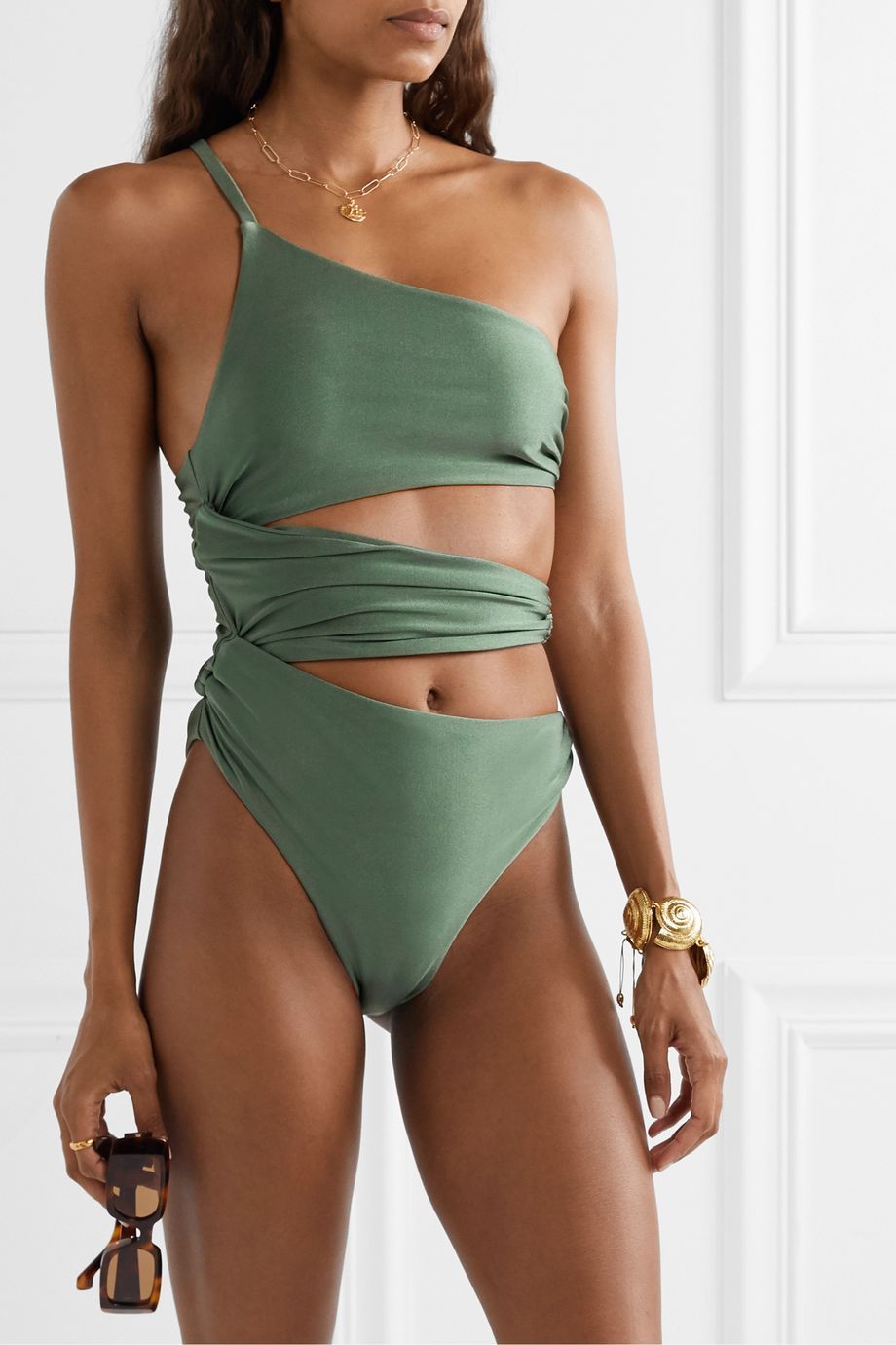 Cult Gaia Jana embellished one-shoulder cutout swimsuit