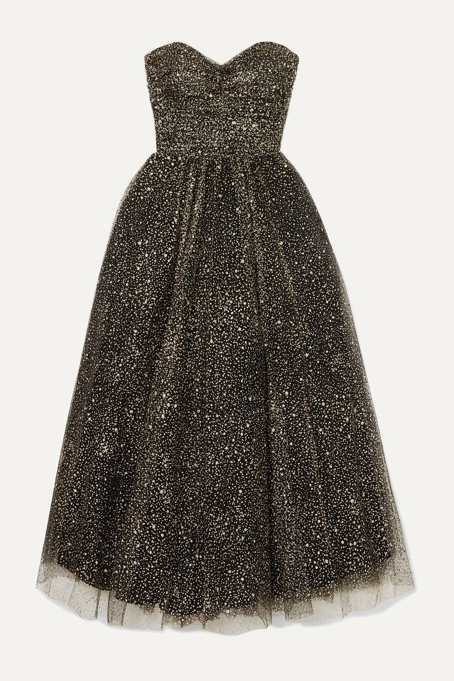 Monique Lhuillier Brie strapless ruched glittered tulle gown