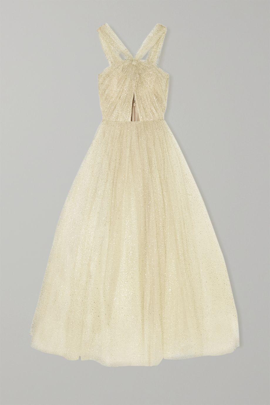 Monique Lhuillier Cutout glittered tulle gown