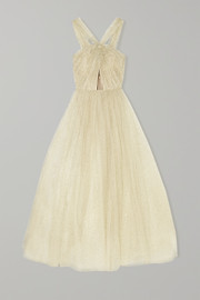 Monique Lhuillier Cutout glittered tulle gown