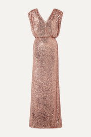 Monique Lhuillier Wrap-effect sequined stretch-tulle gown