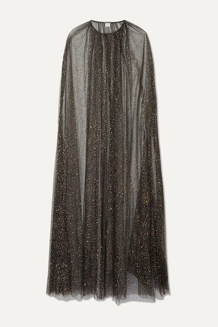 Monique Lhuillier Brie glittered tulle cape