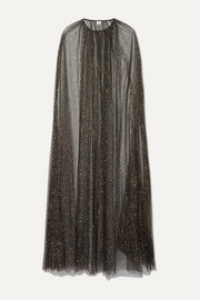 Monique Lhuillier Brie glittered tulle cape