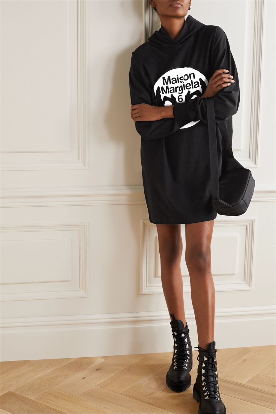 MM6 Maison Margiela Oversized hooded printed cotton-jersey mini dress