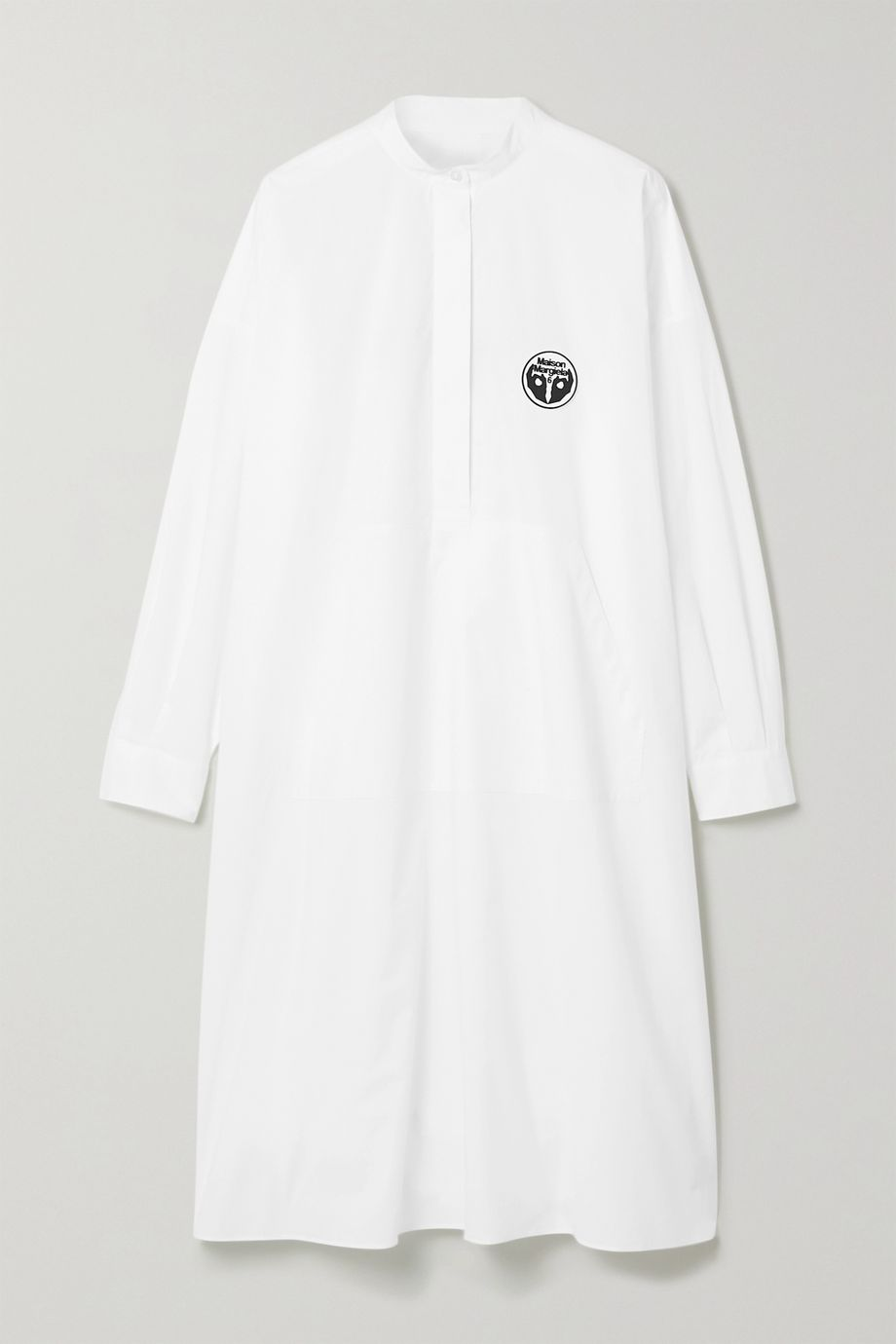 MM6 Maison Margiela Oversized appliquéd printed cotton-poplin dress