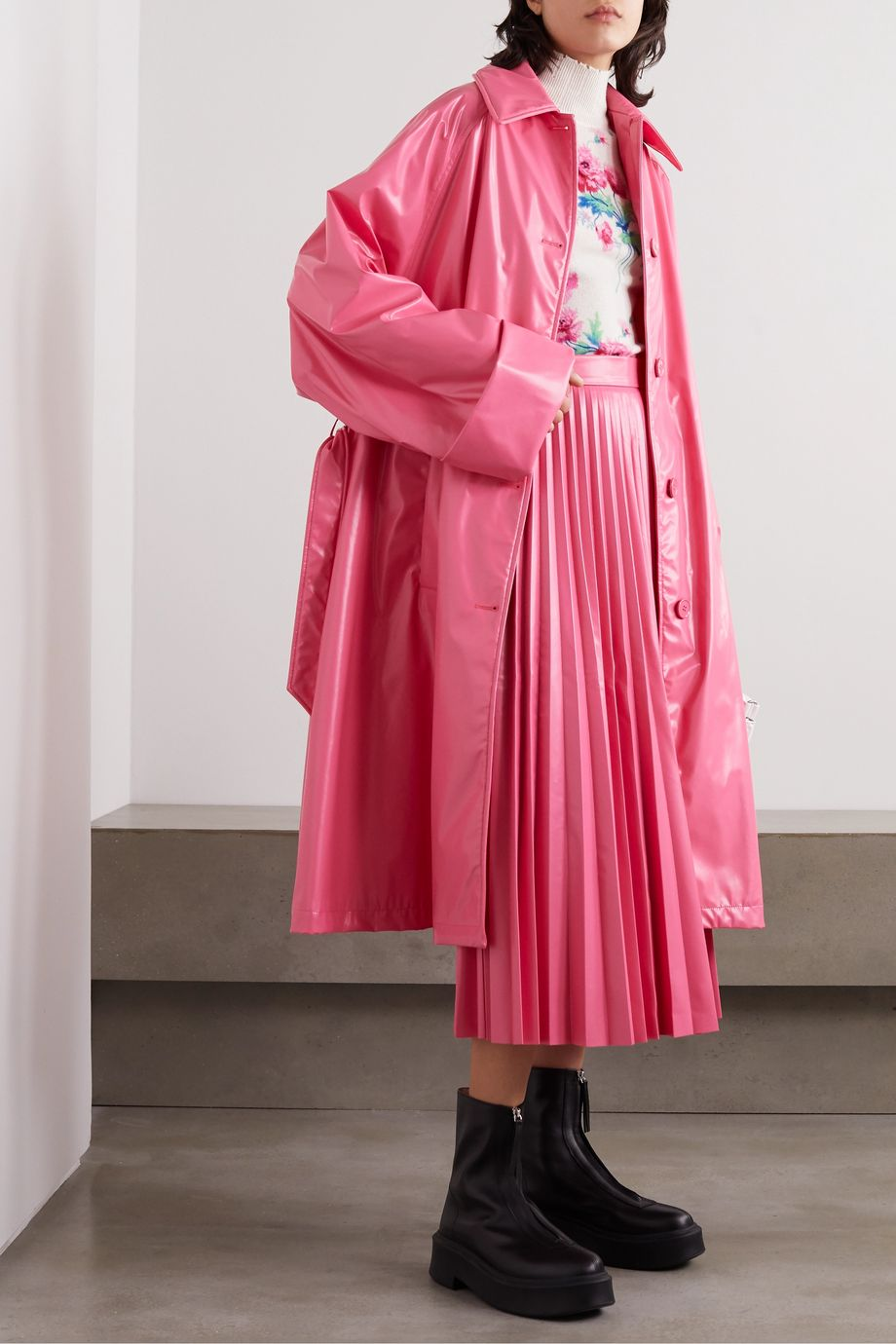 MM6 Maison Margiela Pleated vinyl midi skirt