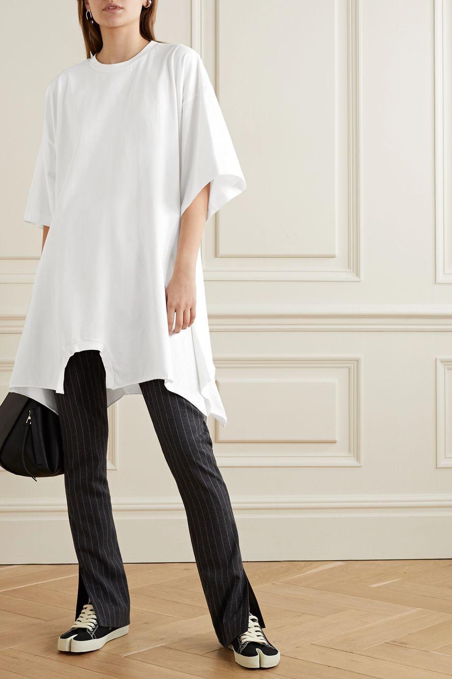MM6 Maison Margiela Asymmetrisches Oversized-Kleid aus Baumwoll-Jersey