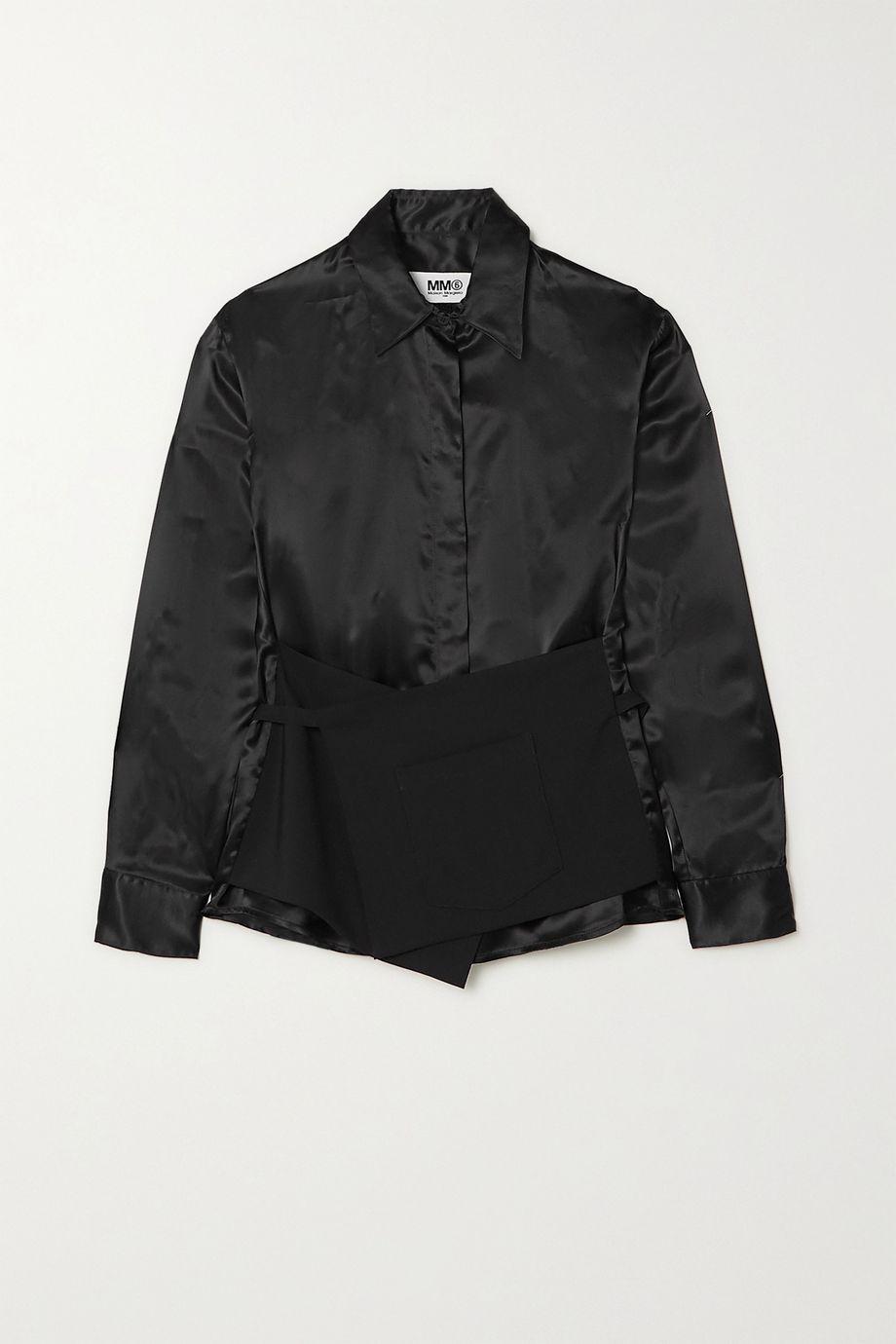 MM6 Maison Margiela Layered wool and charmeuse shirt