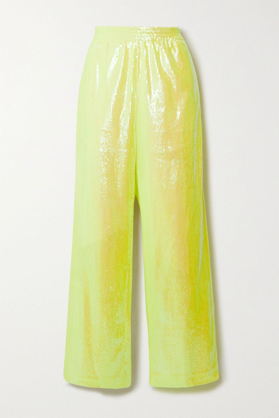 MM6 Maison Margiela Hose mit weitem Bein aus Mesh mit Pailletten