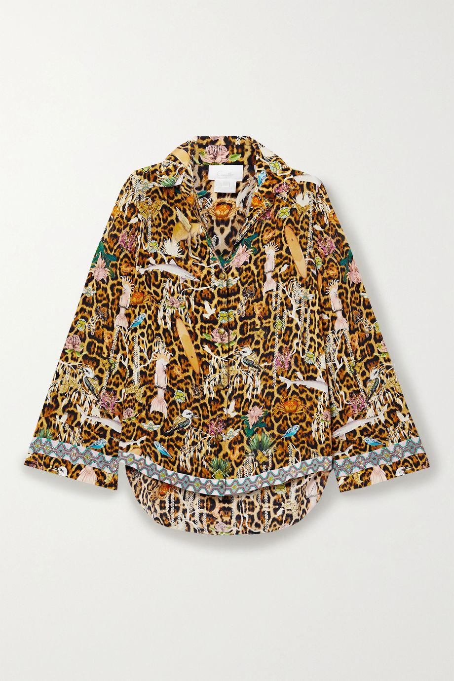 Camilla Crystal-embellished printed washed-silk shirt