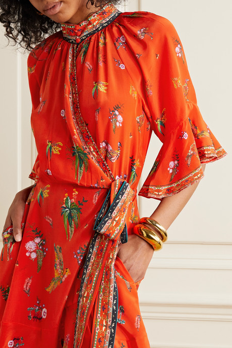 Crystal-embellished printed silk crepe de chine wrap dress