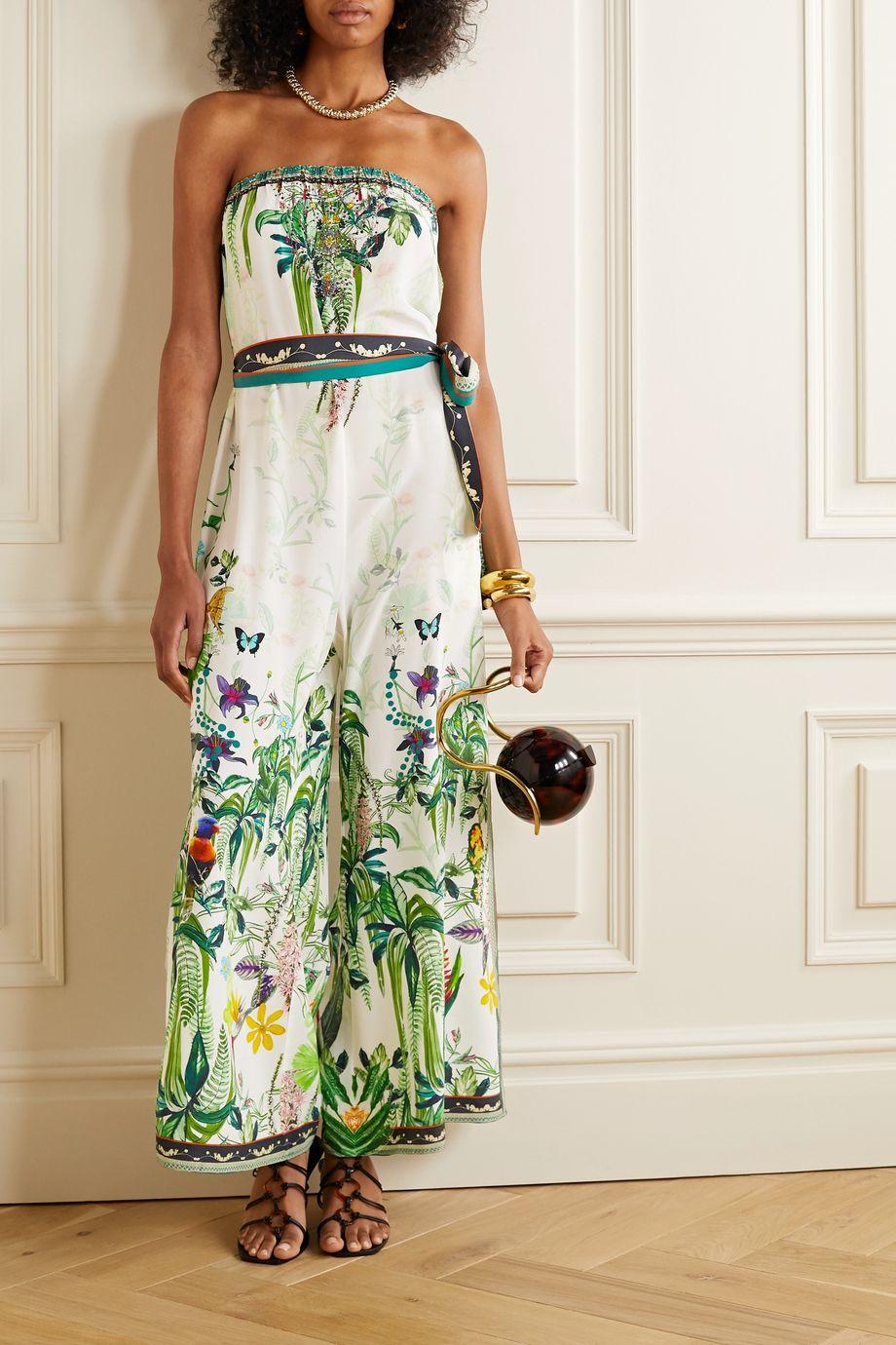 Camilla Belted crystal-embellished printed silk crepe de chine jumpsuit
