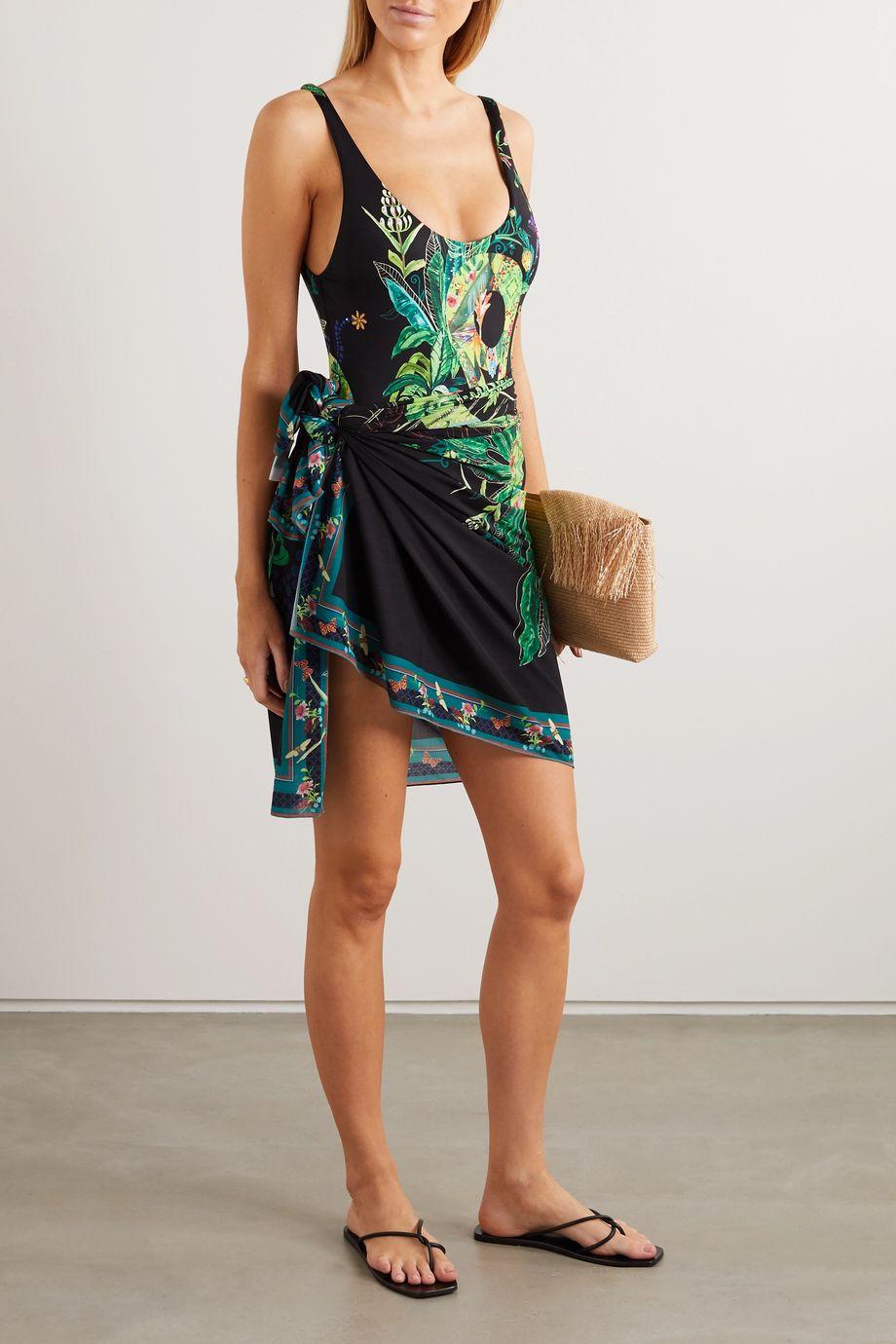 Camilla 印花双绉裹身式沙滩巾