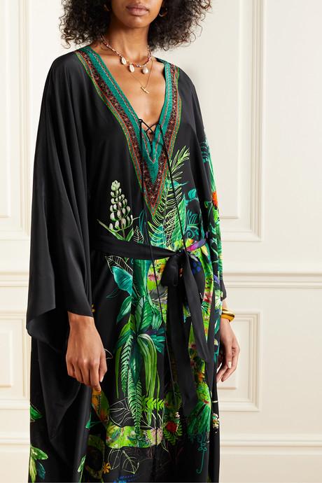 Lace-up crystal-embellished printed silk crepe de chine kaftan