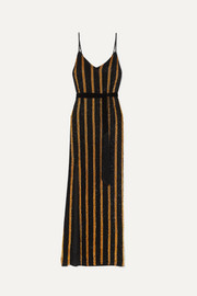 Retrofête Rebecca velvet-trimmed striped sequined chiffon maxi dress