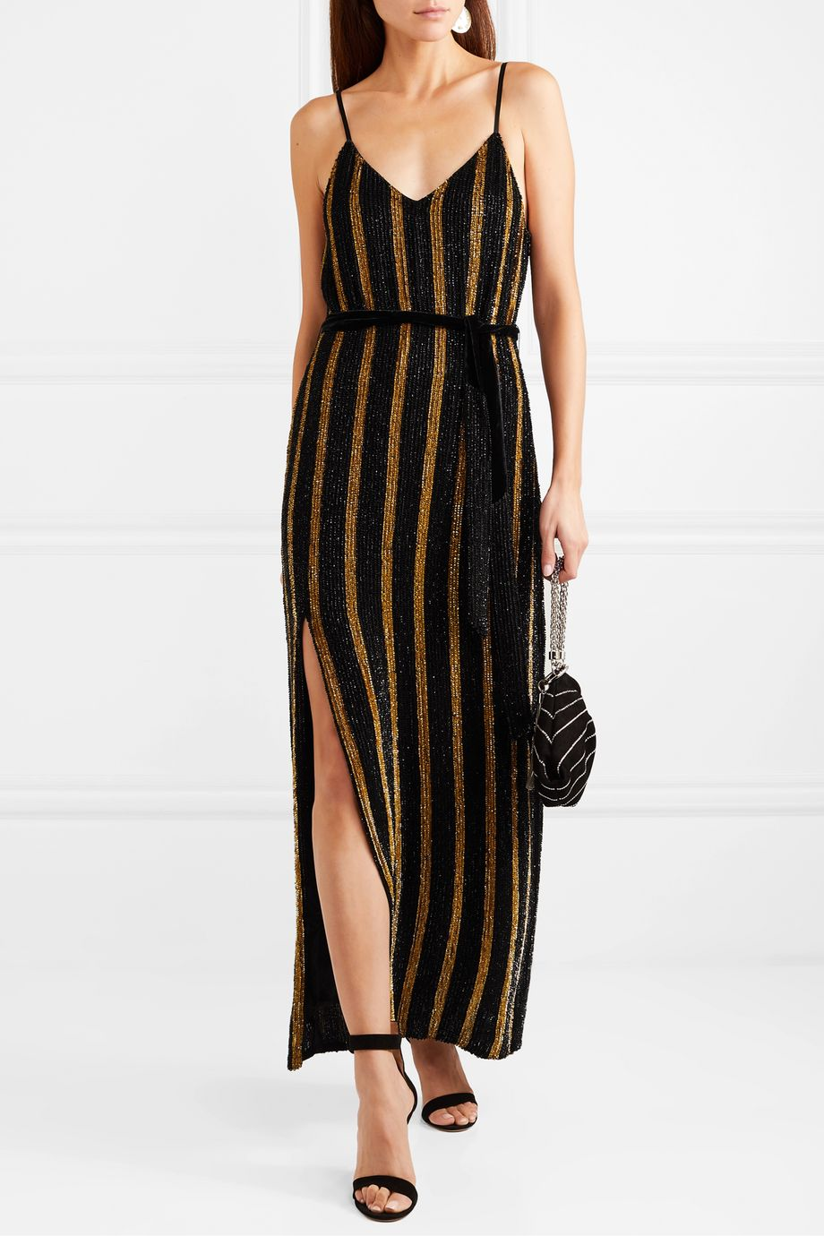 Retrofête Rebecca velvet-trimmed striped sequined chiffon maxi dress