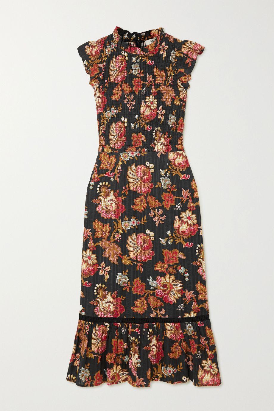 Sea Pascale ruffled shirred floral-print cotton-voile midi dress
