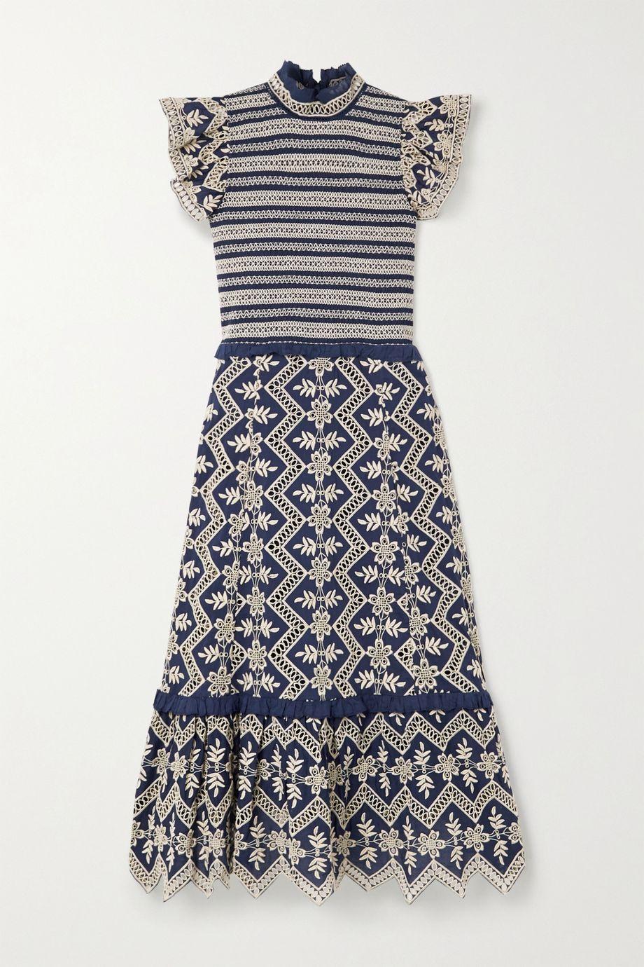 Sea Zippy smocked broderie anglaise cotton midi dress
