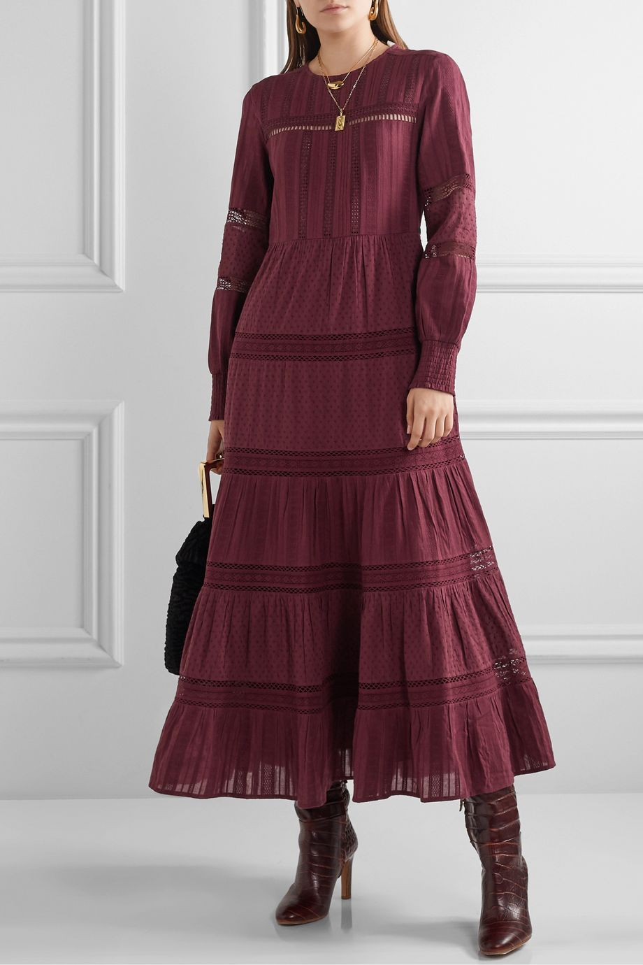 Sea Pascale crochet-trimmed embroidered cotton-voile maxi dress