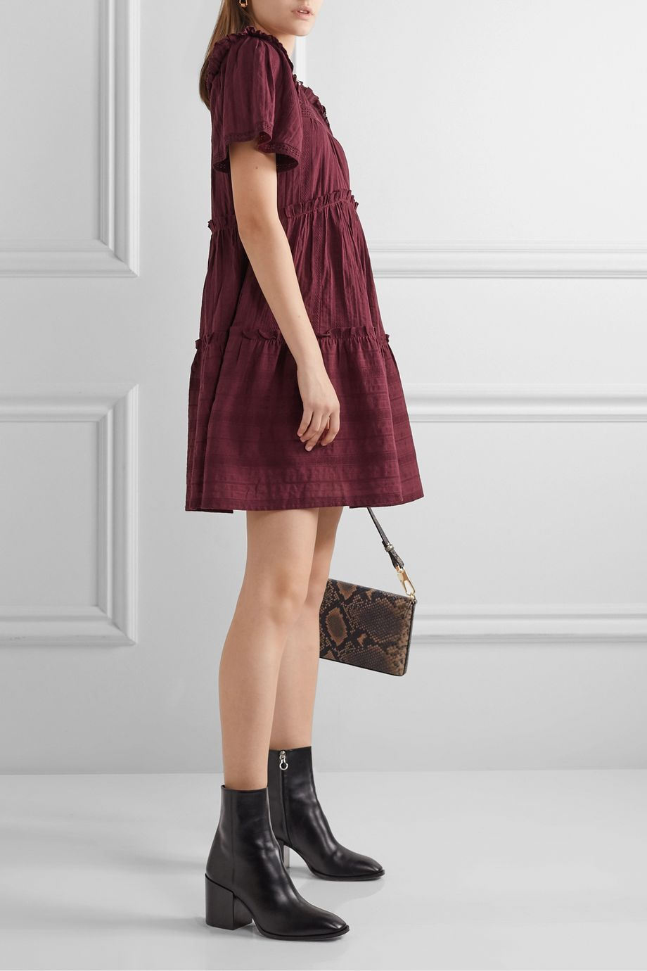 Sea Pascale ruffled broderie anglaise-trimmed cotton-voile mini dress