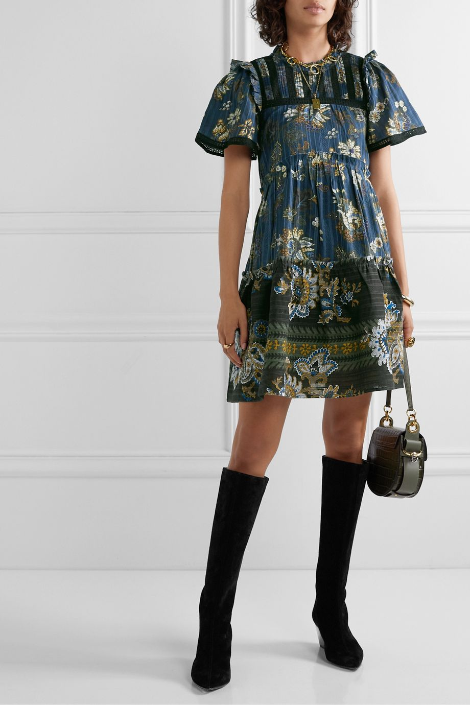 Sea Pascale embroidered floral-print cotton-voile mini dress