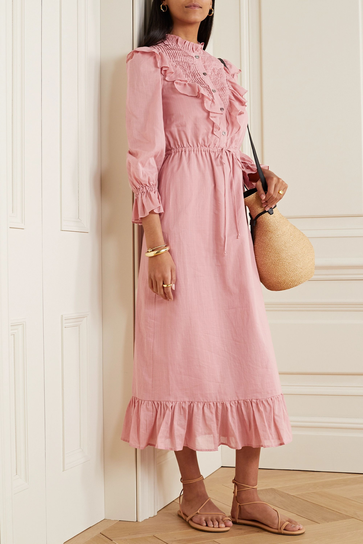 Clara Kleid aus Baumwoll-Voile mit Rüschen