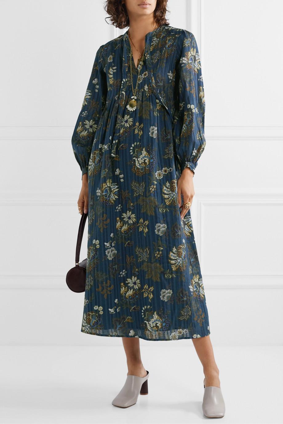 Sea Pascale embroidered floral-print cotton-voile midi dress
