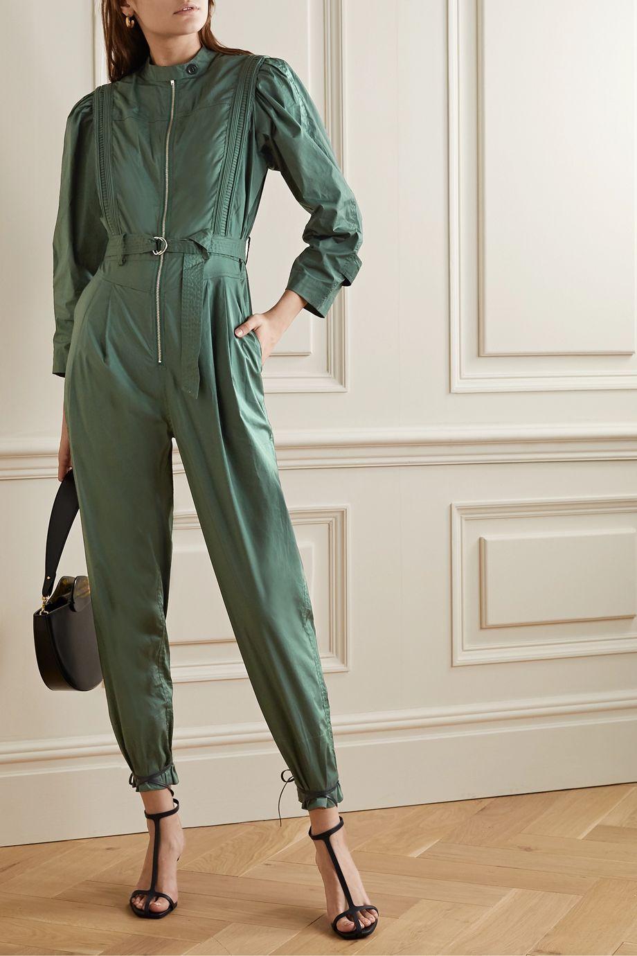 Sea Clara belted cotton-blend poplin jumpsuit