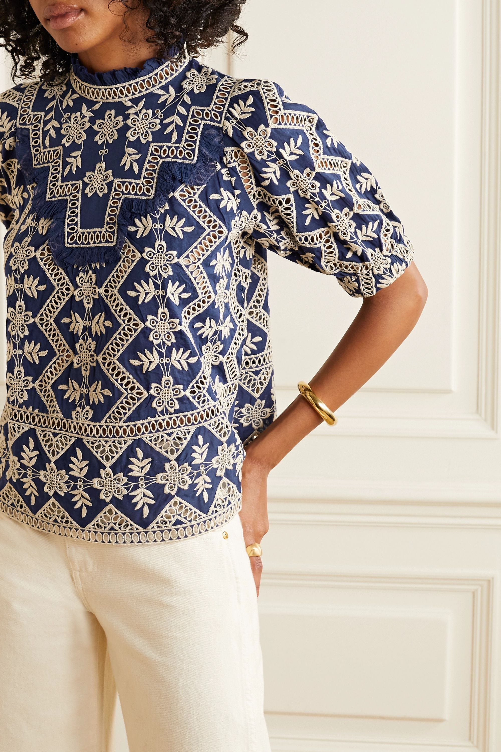 Sea Zippy broderie anglaise cotton top