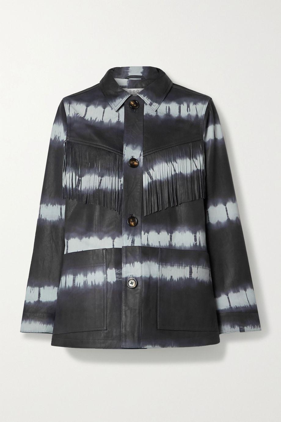 Sea Tilda fringed tie-dyed leather jacket