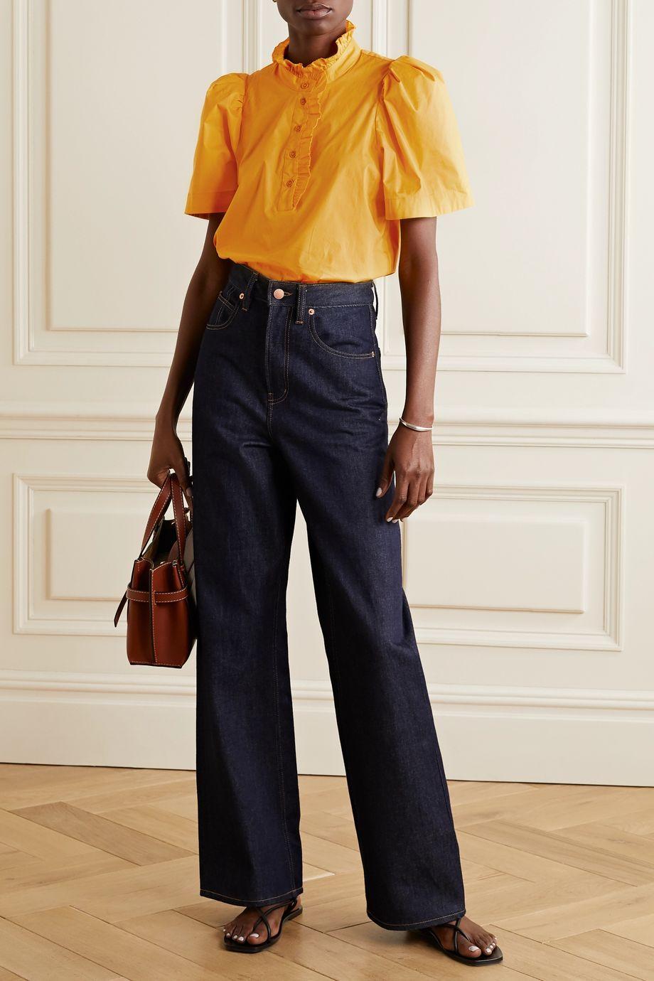 Sea Clara ruffle-trimmed cotton-blend poplin blouse