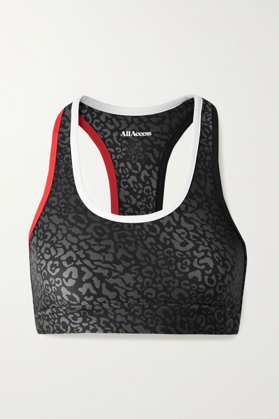 All Access Front Row leopard-print stretch sports bra