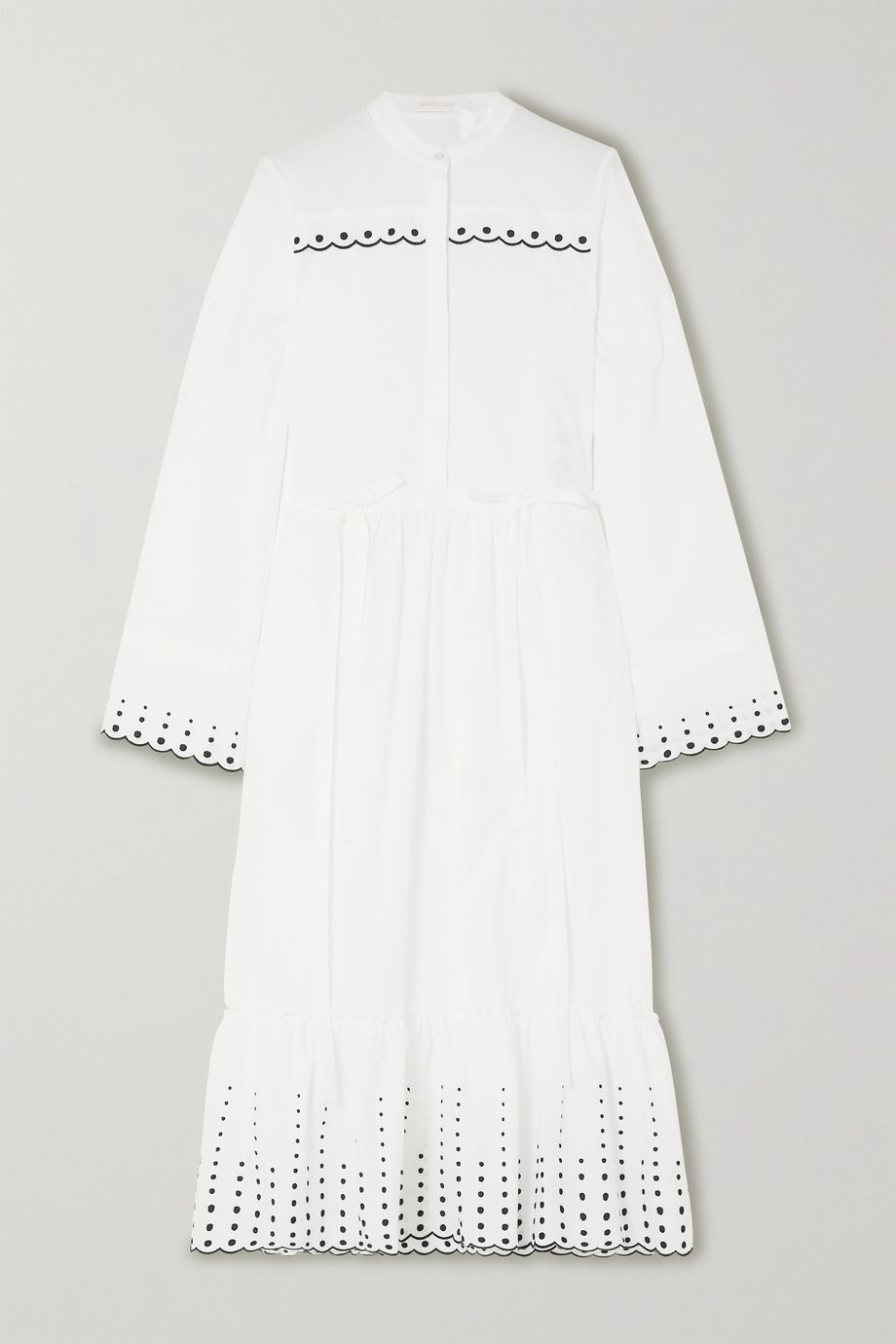 See By Chloé Embroidered cotton-poplin midi dress