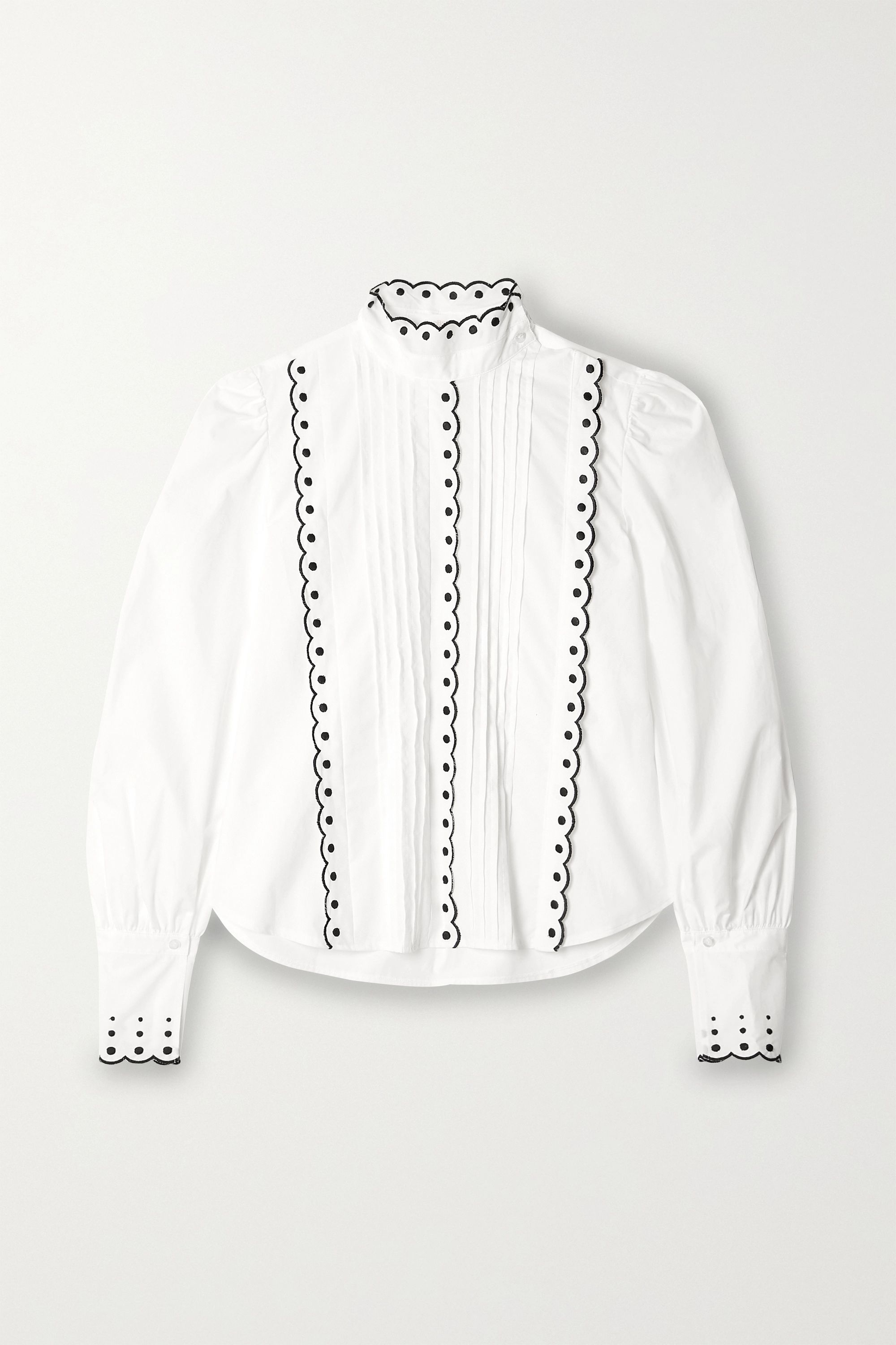 See By Chloé Pintucked embroidered cotton-poplin blouse