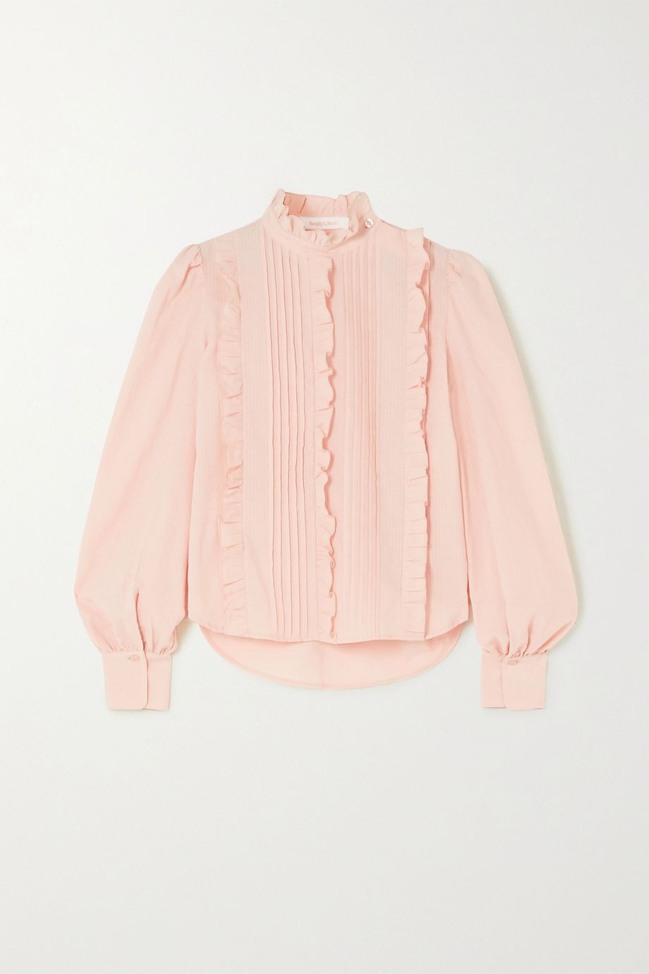 See By Chloé Ruffled pintucked cotton-poplin blouse