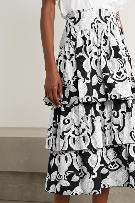 Tiered printed cotton-poplin midi skirt