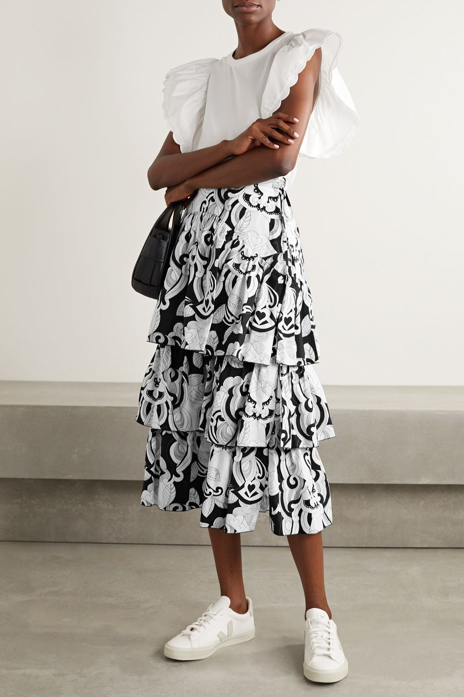 See By Chloé Tiered printed cotton-poplin midi skirt