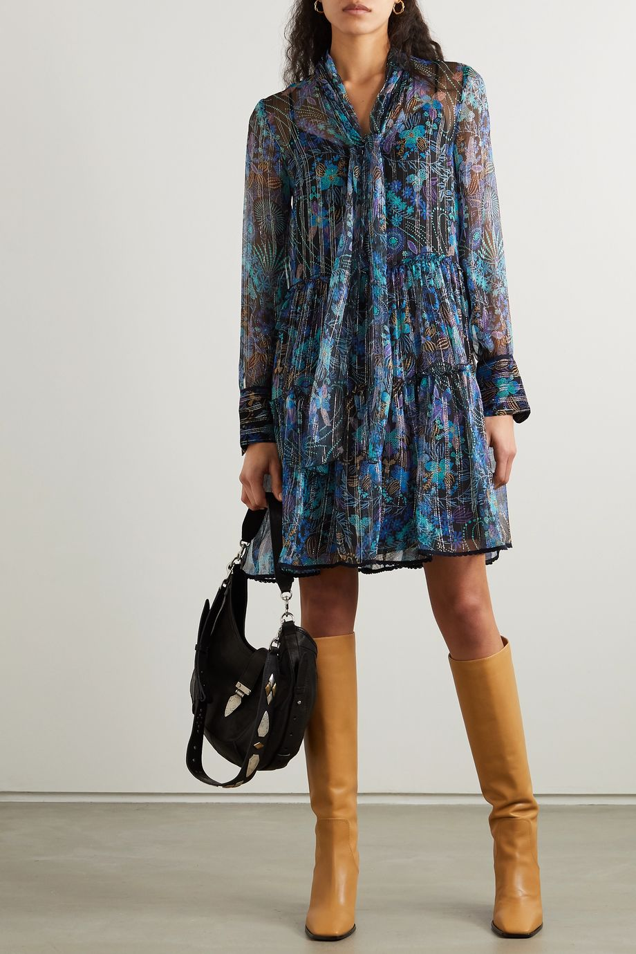 See By Chloé Pussy-bow metallic floral-print silk-blend georgette dress