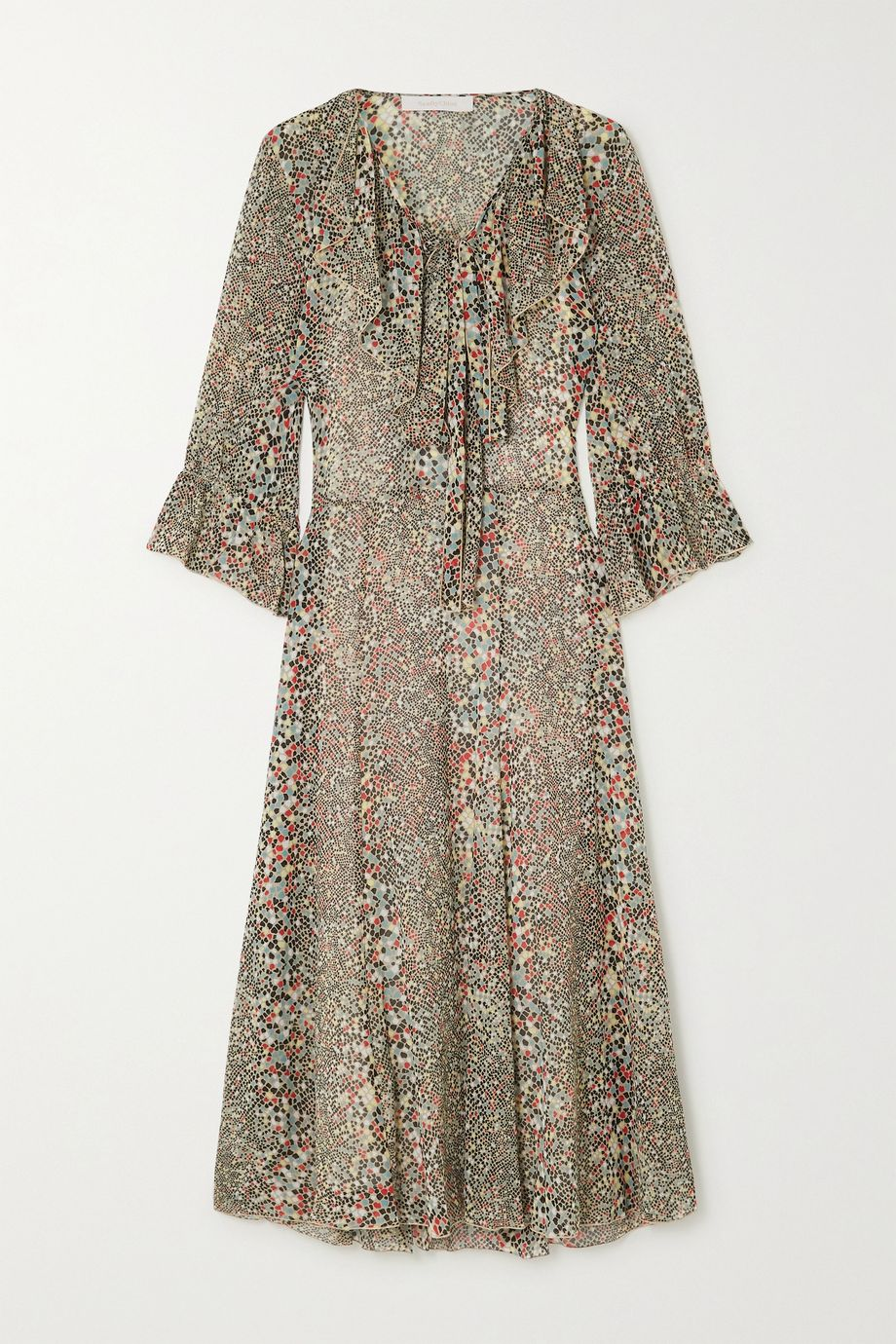 See By Chloé Ruffled printed cotton and silk-blend crepon midi dress