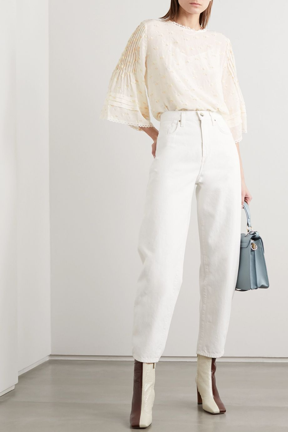 See By Chloé Lace-trimmed pintucked printed fil coupé georgette blouse
